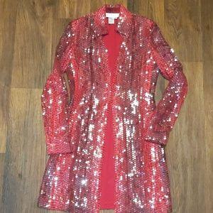 Basix II silk long blazer jacket size 4 small